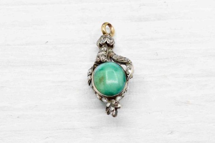Pendentif 19e siècle turquoise et roses de diamant