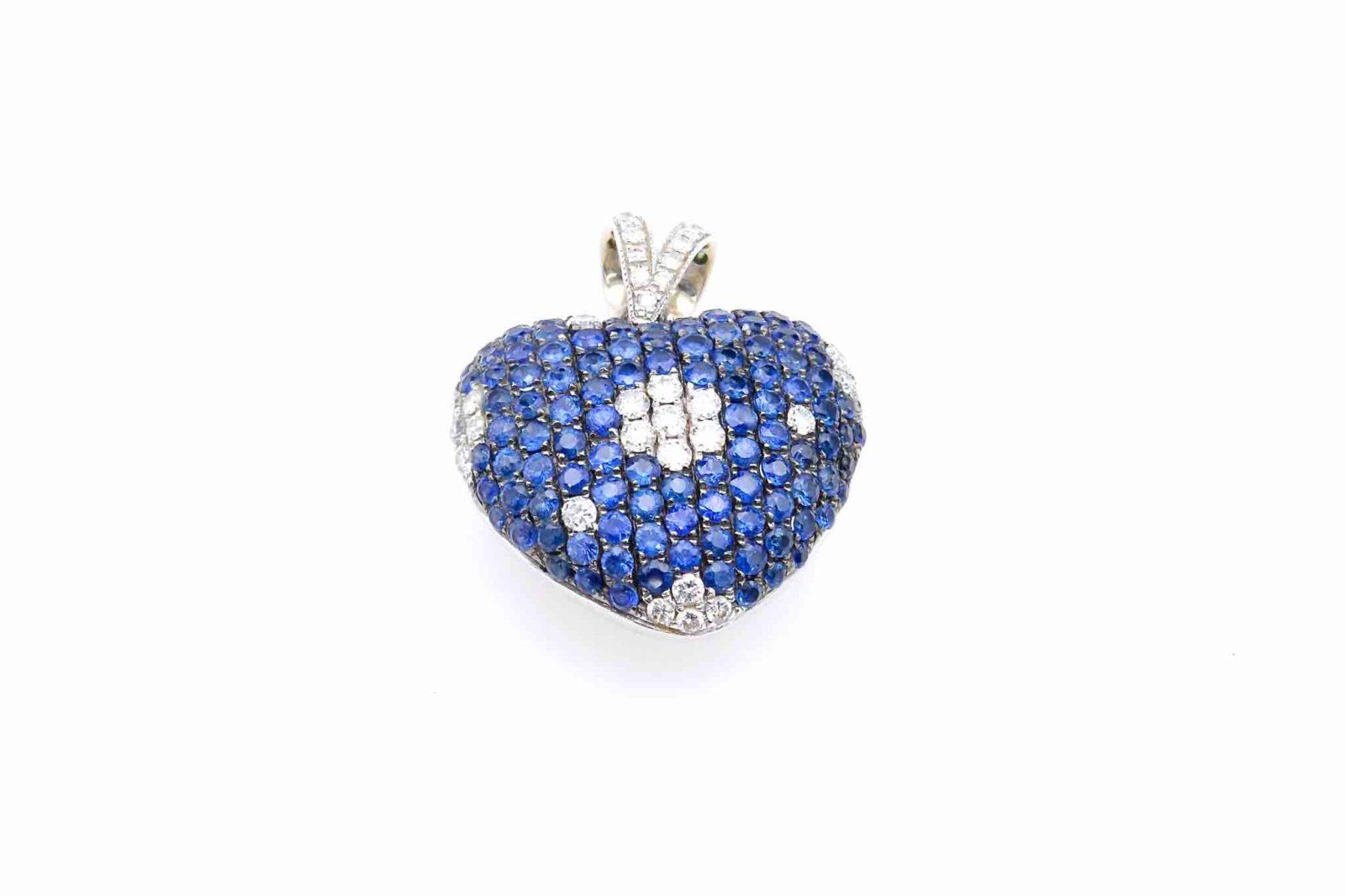 Pendentif coeur saphirs diamants
