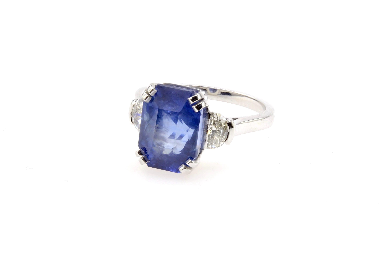 Bague saphir Birman et diamants en platine
