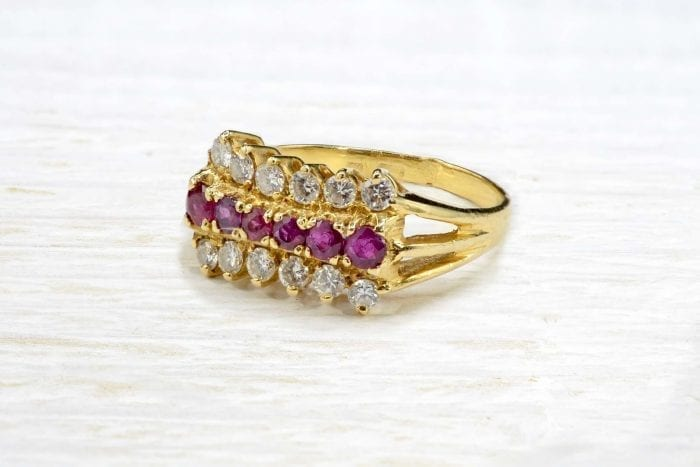 bague rubis diamants en or jaune