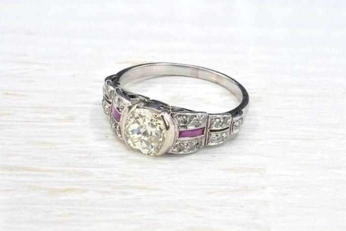 Bague diamant Art Déco en platine