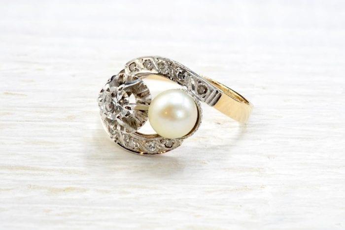 Bague 1900 diamants et perle de culture