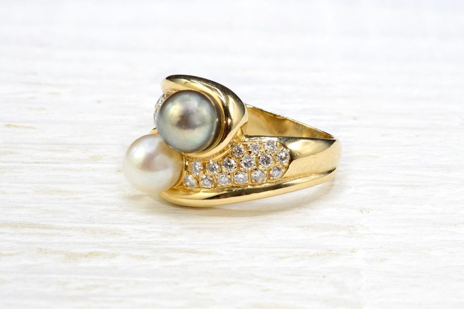 bague diamants perles