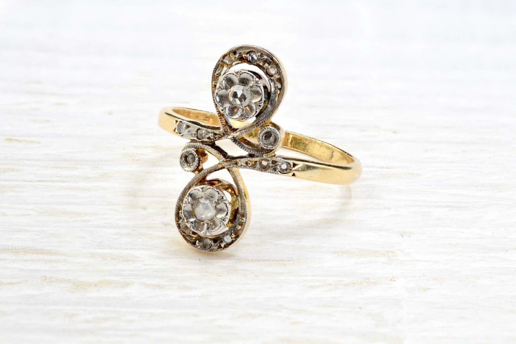 bague 1900 toi et moi or jaune 18k et diamants
