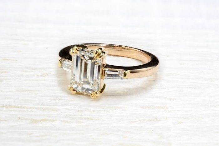 Bague diamants baguettes