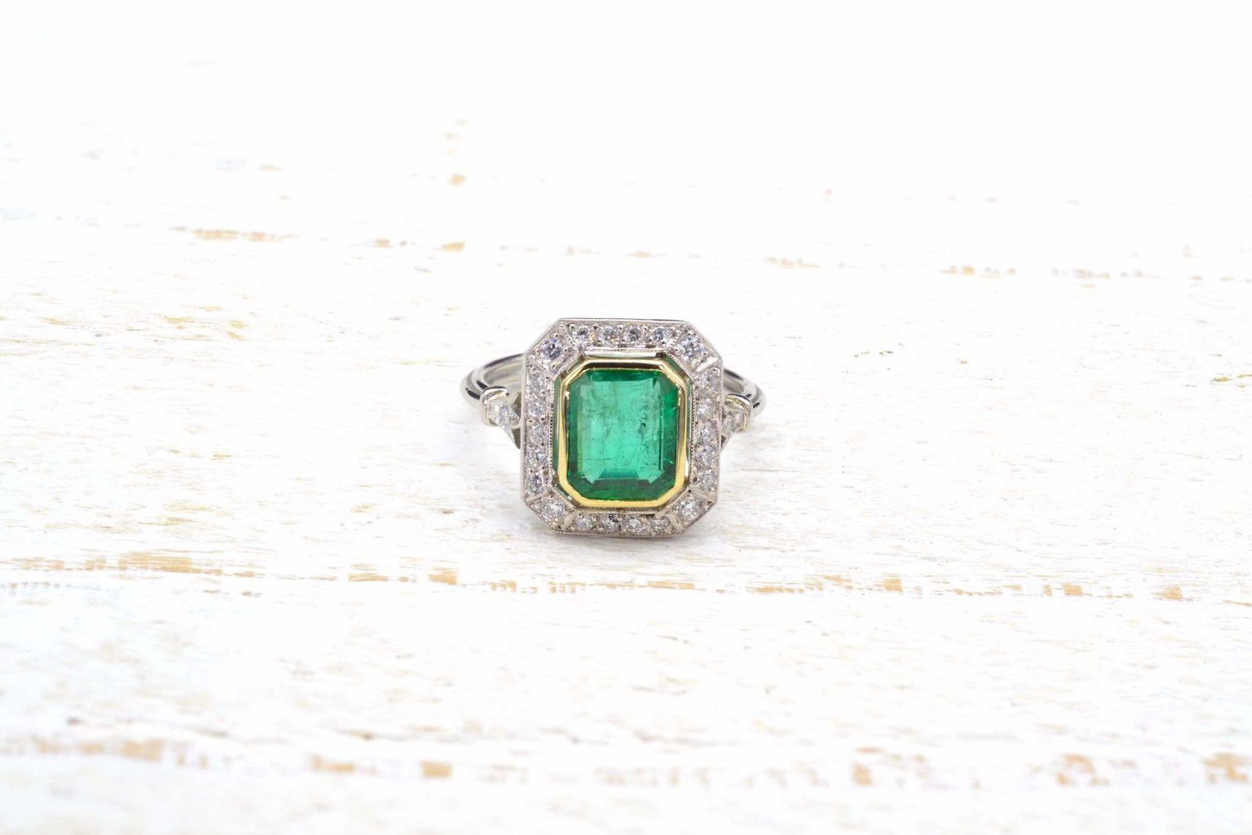 art deco emerald ring