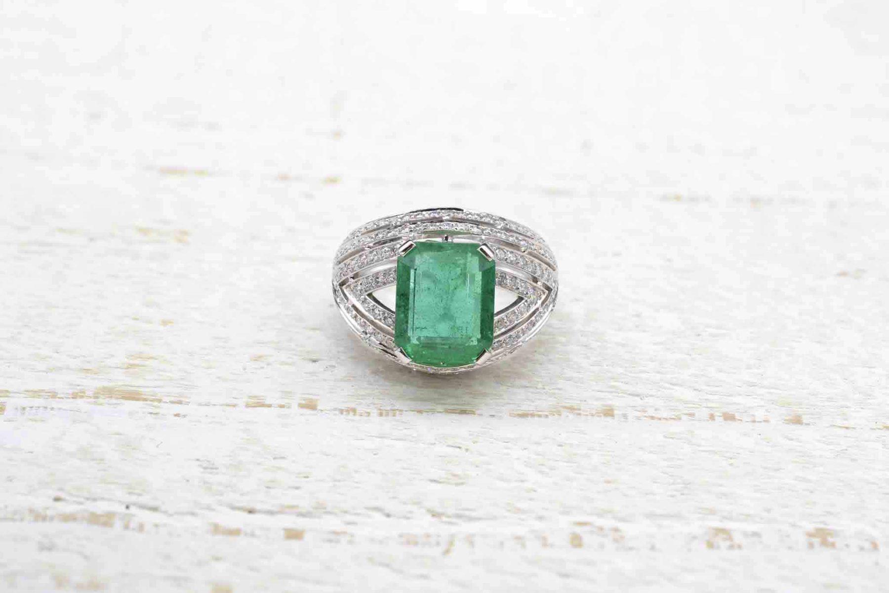 vintage emerald diamonds ring