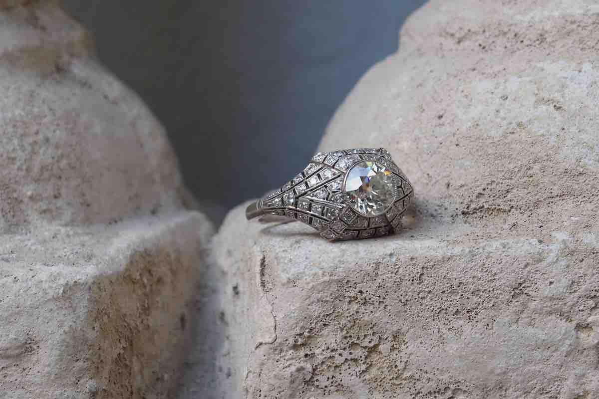 bague art deco dome diamants