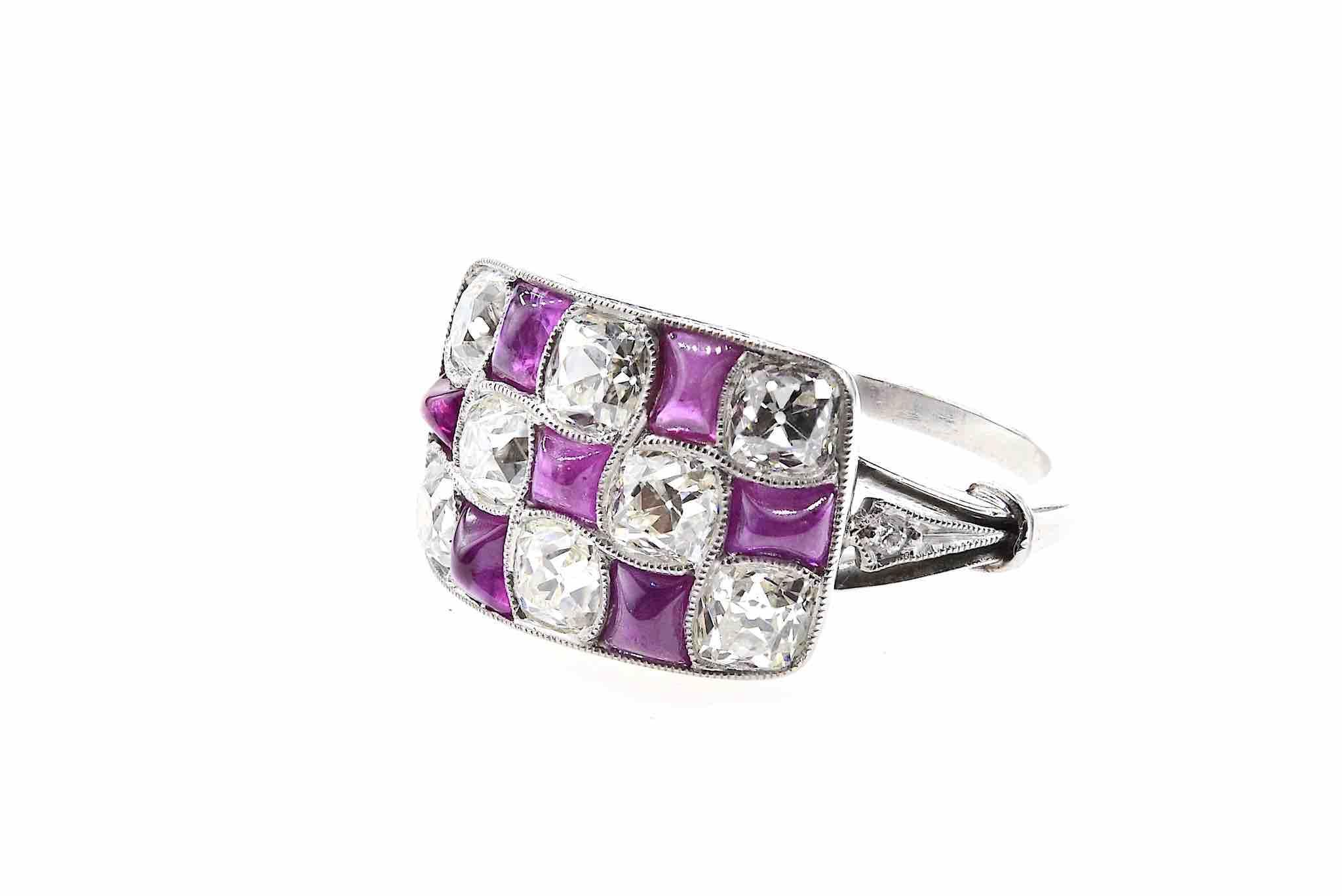bague rubis et diamants de style art déco