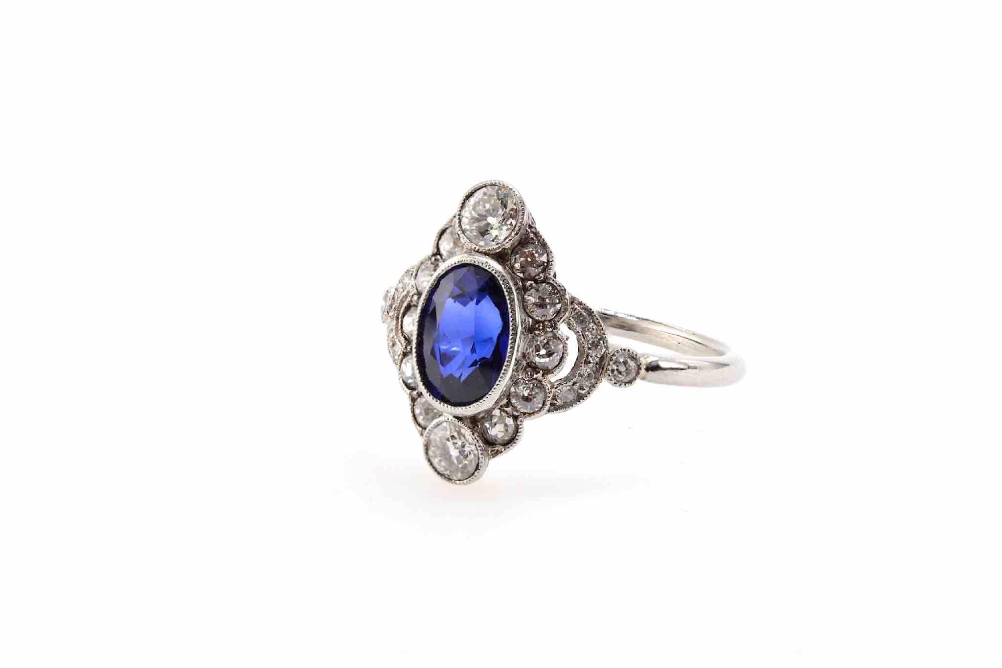 bague vintage saphir et diamants art déco