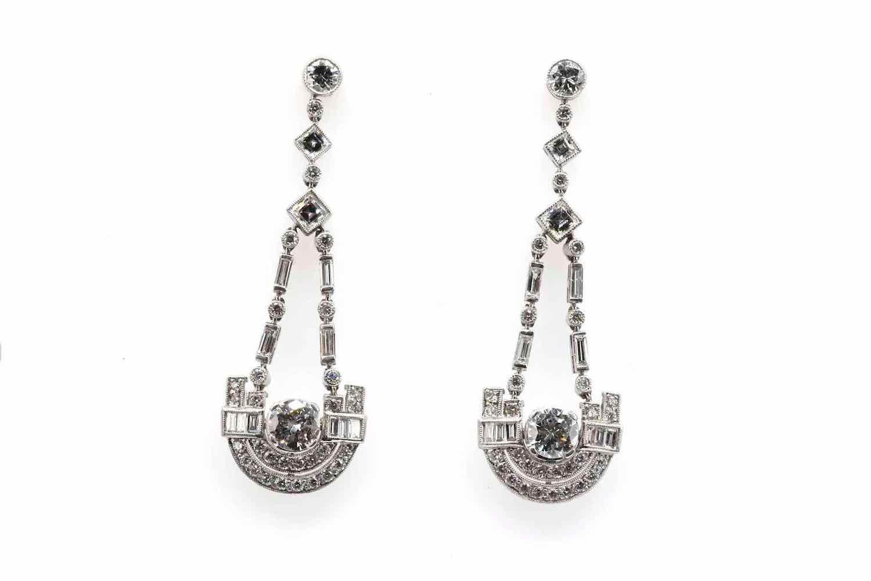 boucles d'oreilles art deco diamants