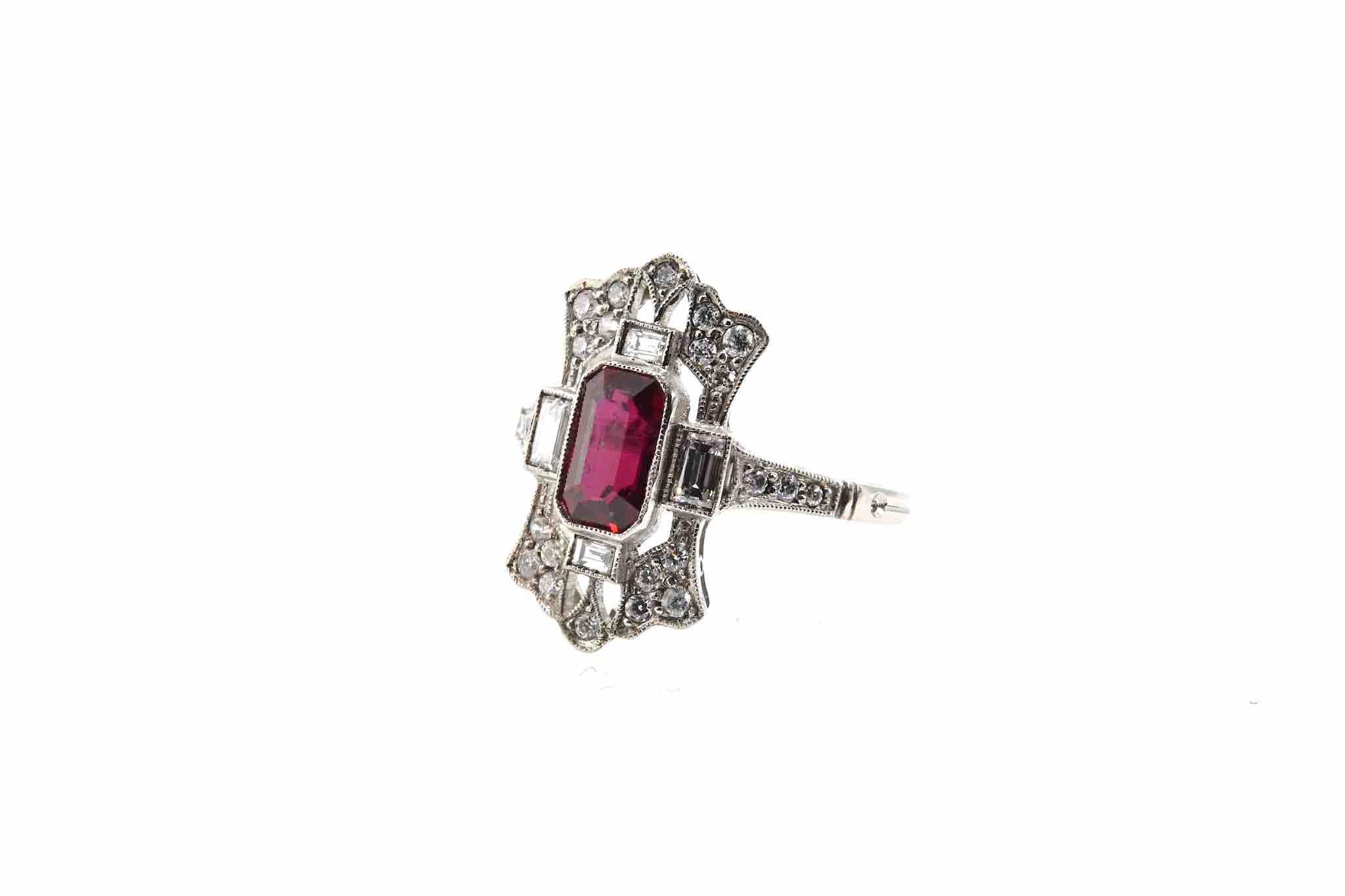 bague rubis diamants art déco