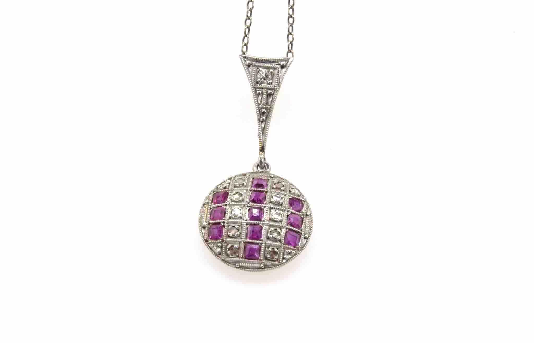 pendentif art déco rubis et diamants