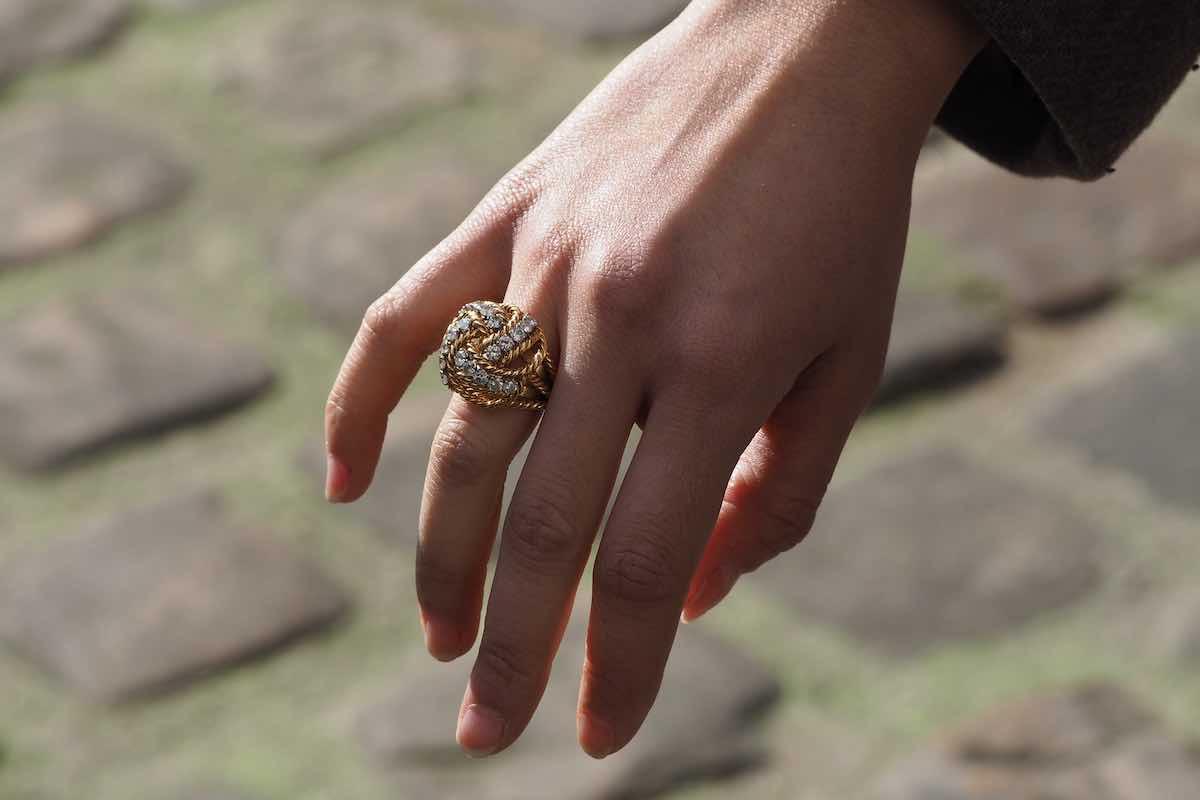 bague boule diamants vintage