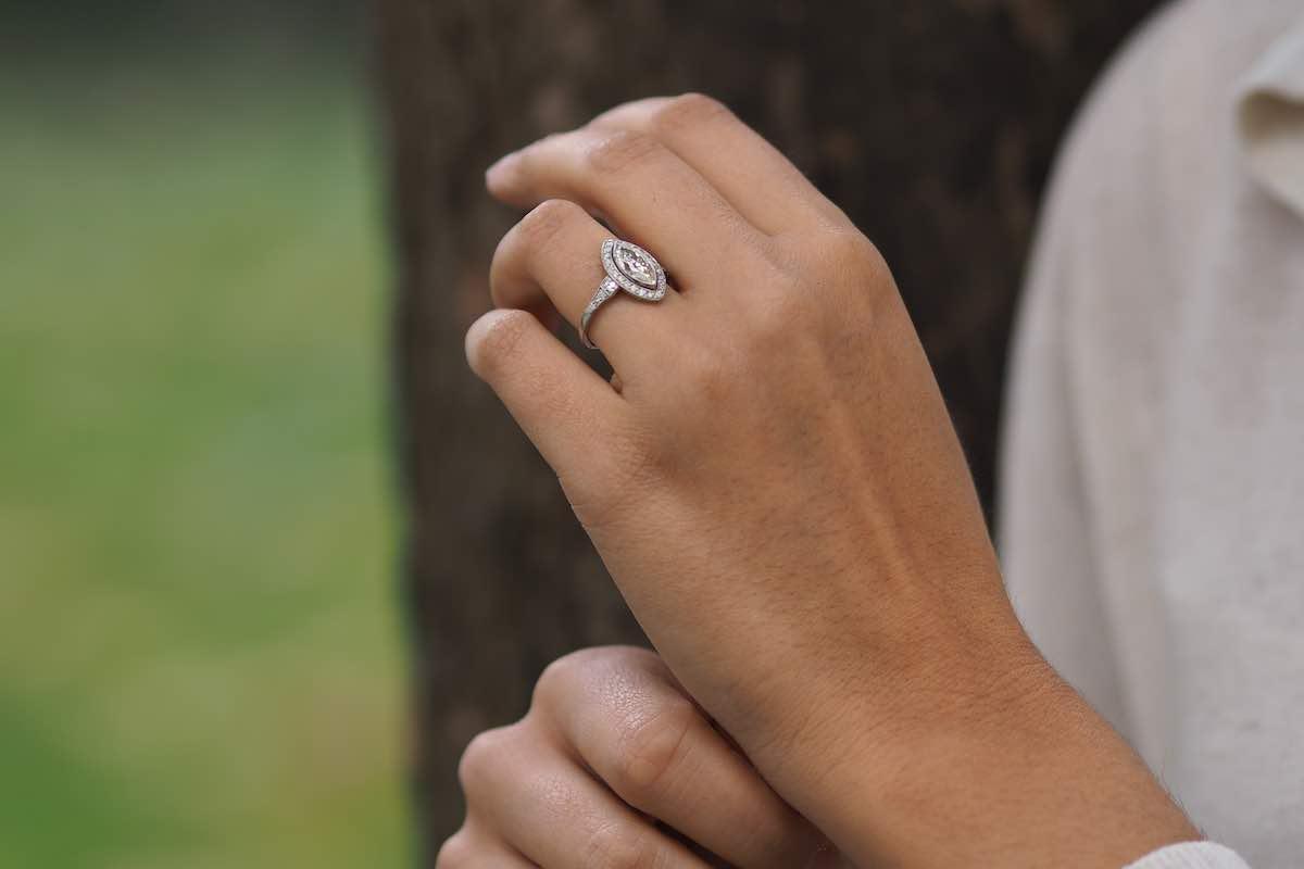 diamant de taille navette ancienne