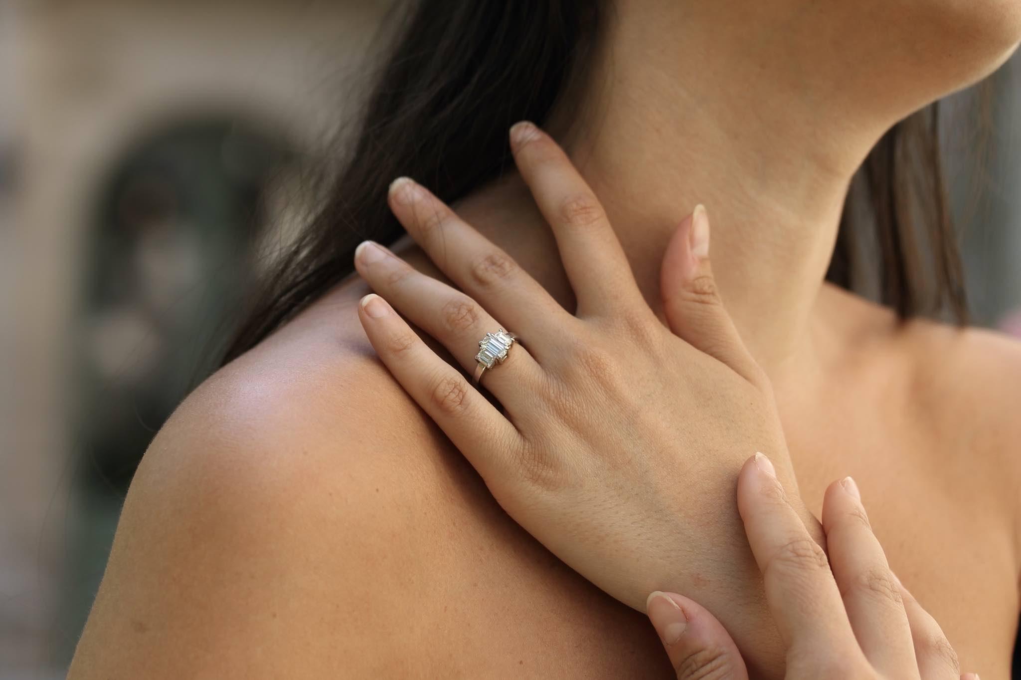 bague diamant taille émeraude