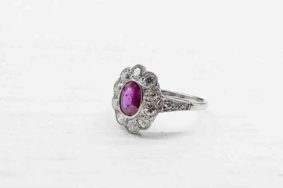 bague fleur rubis et diamants