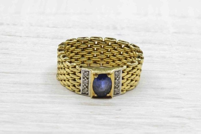 Bague maille saphir et diamants en or jaune 18k