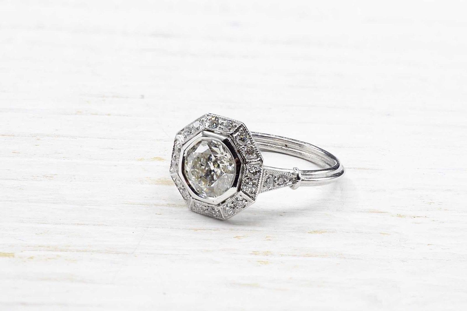 Bague diamants platine vintage