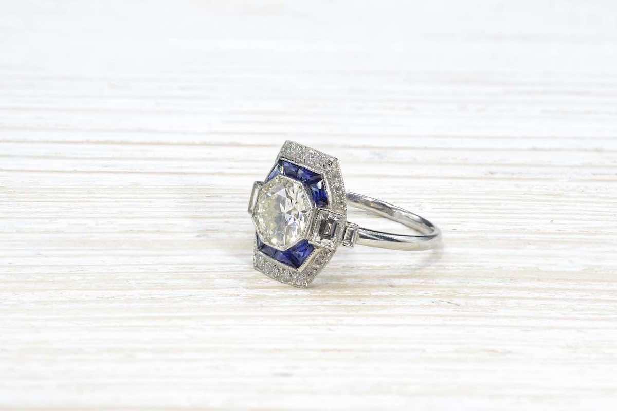 bague octogonale saphirs et diamants