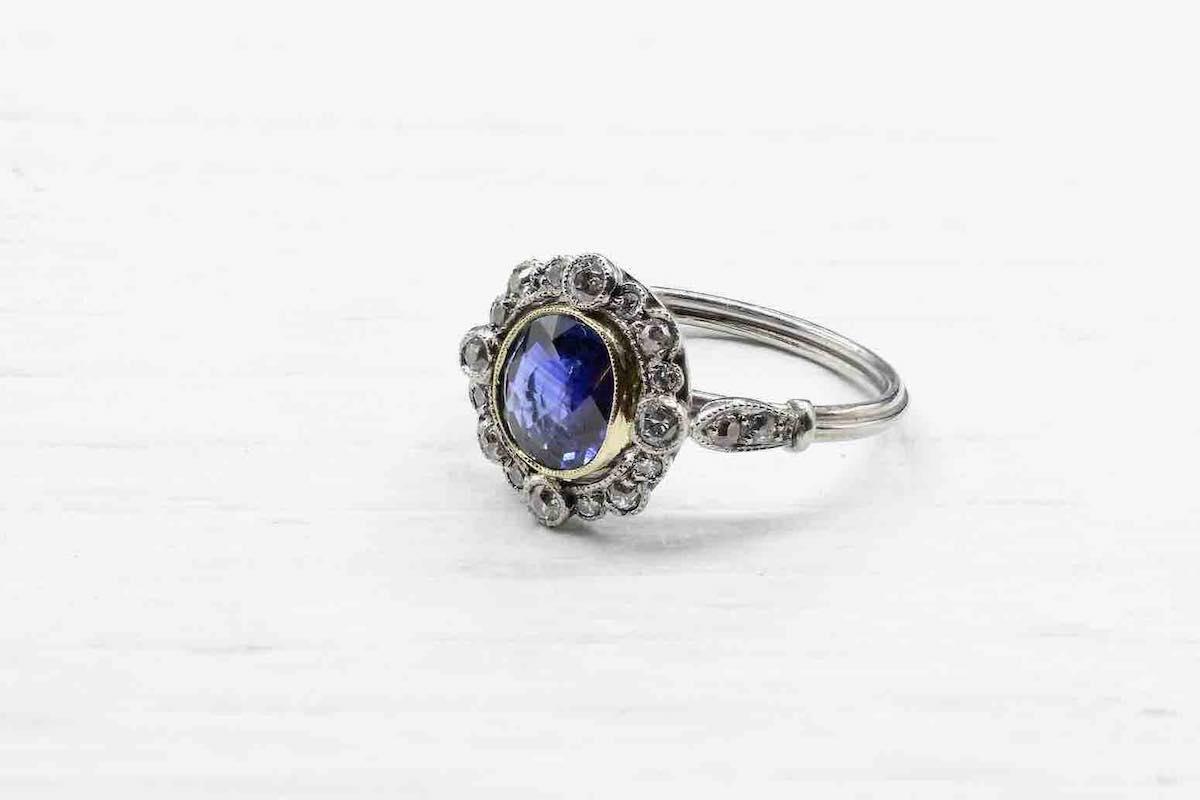 bague vintage saphir et diamants
