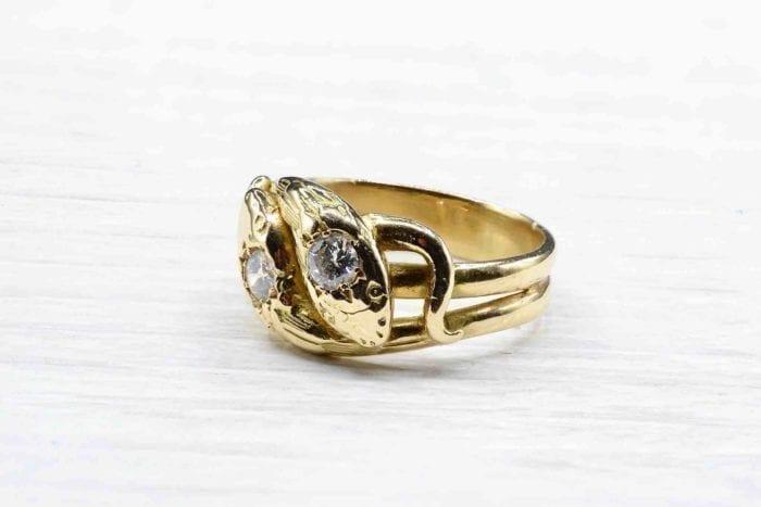 Bague double serpent diamants en or jaune 18k