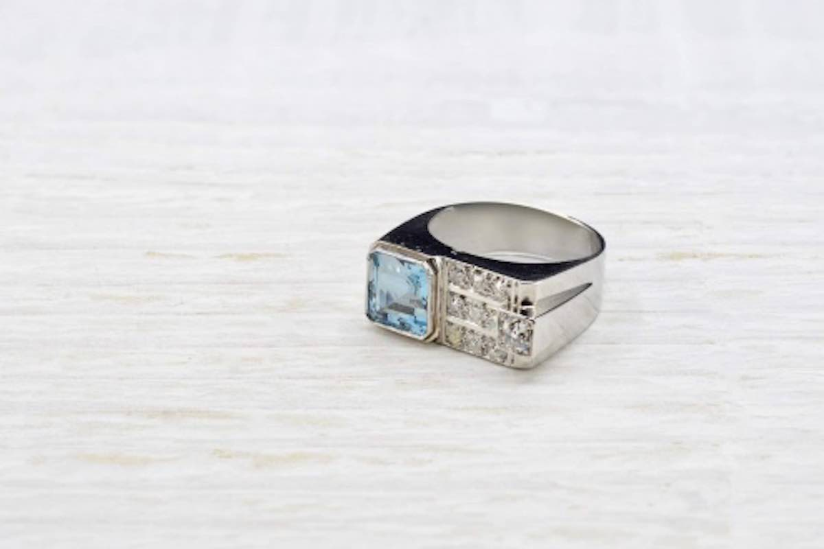 bague ancienne aigue-marine diamants