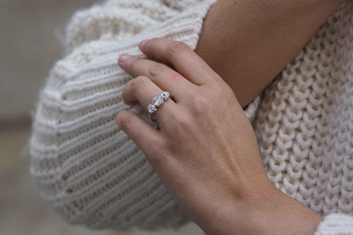 bague de fiançailles trilogie diamants