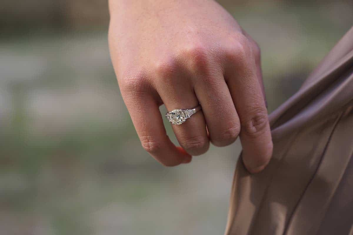 bague diamant ancien en or blanc 18k