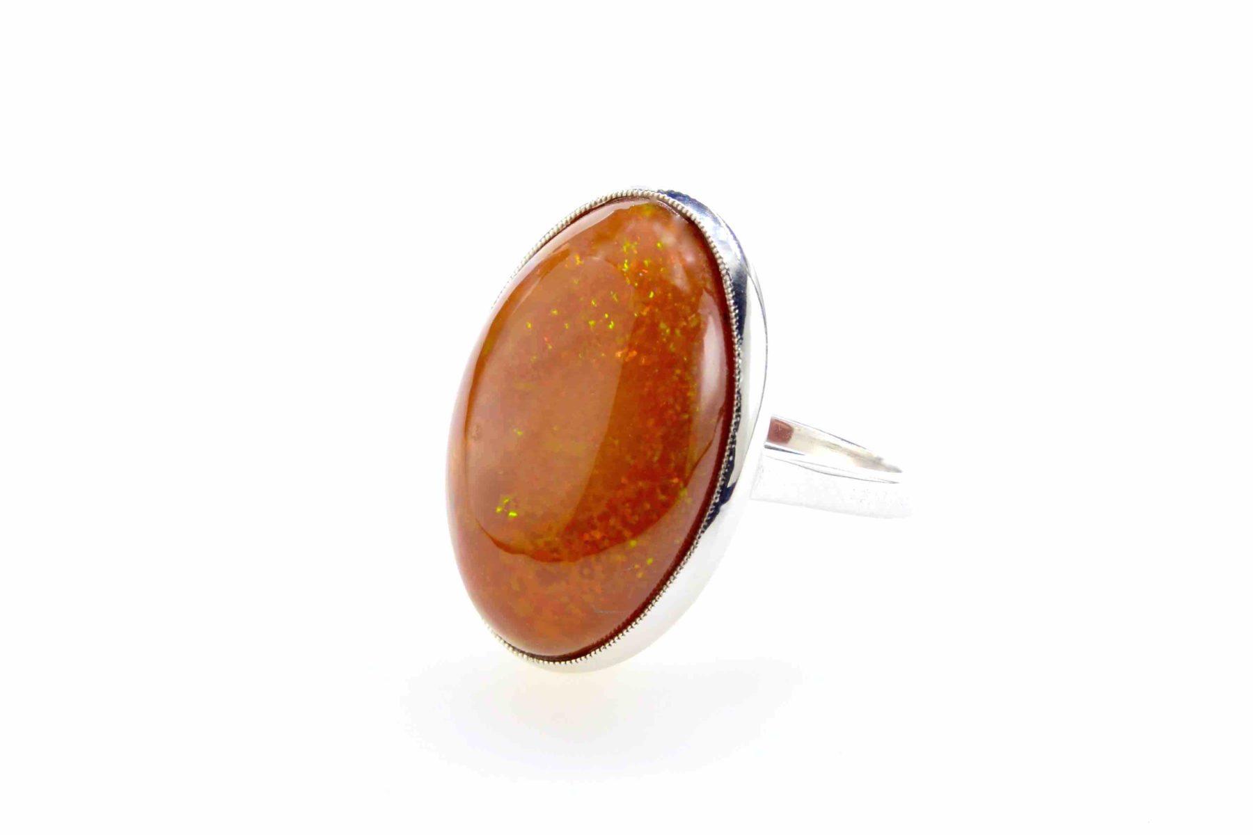 bague opale de feu 14cts