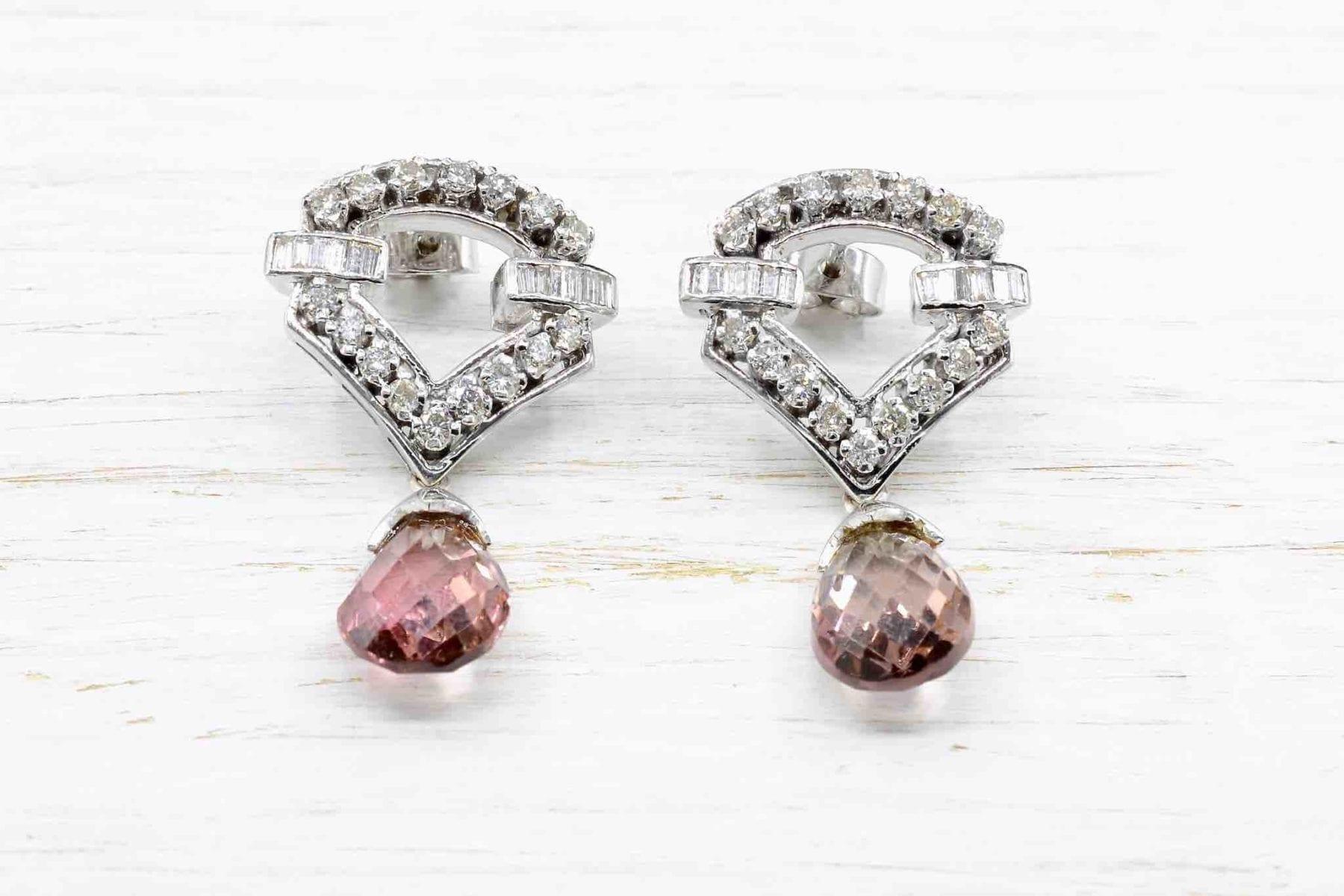Boucles d'oreilles diamants et tourmalines