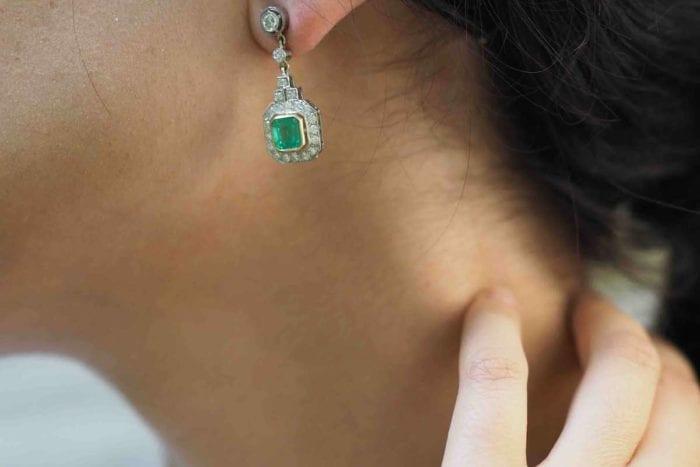 boucles d'oreilles anciennes emeraudes
