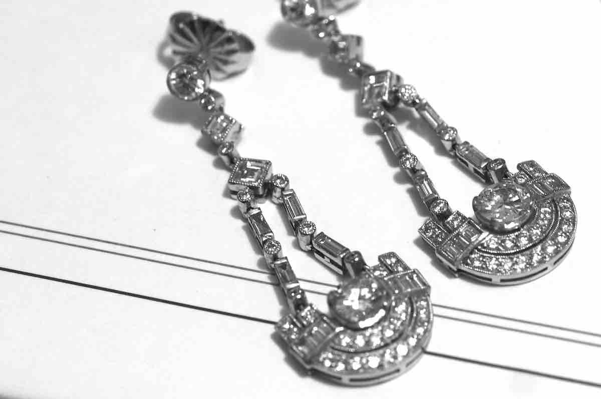 boucle d'oreilles anciennes diamants