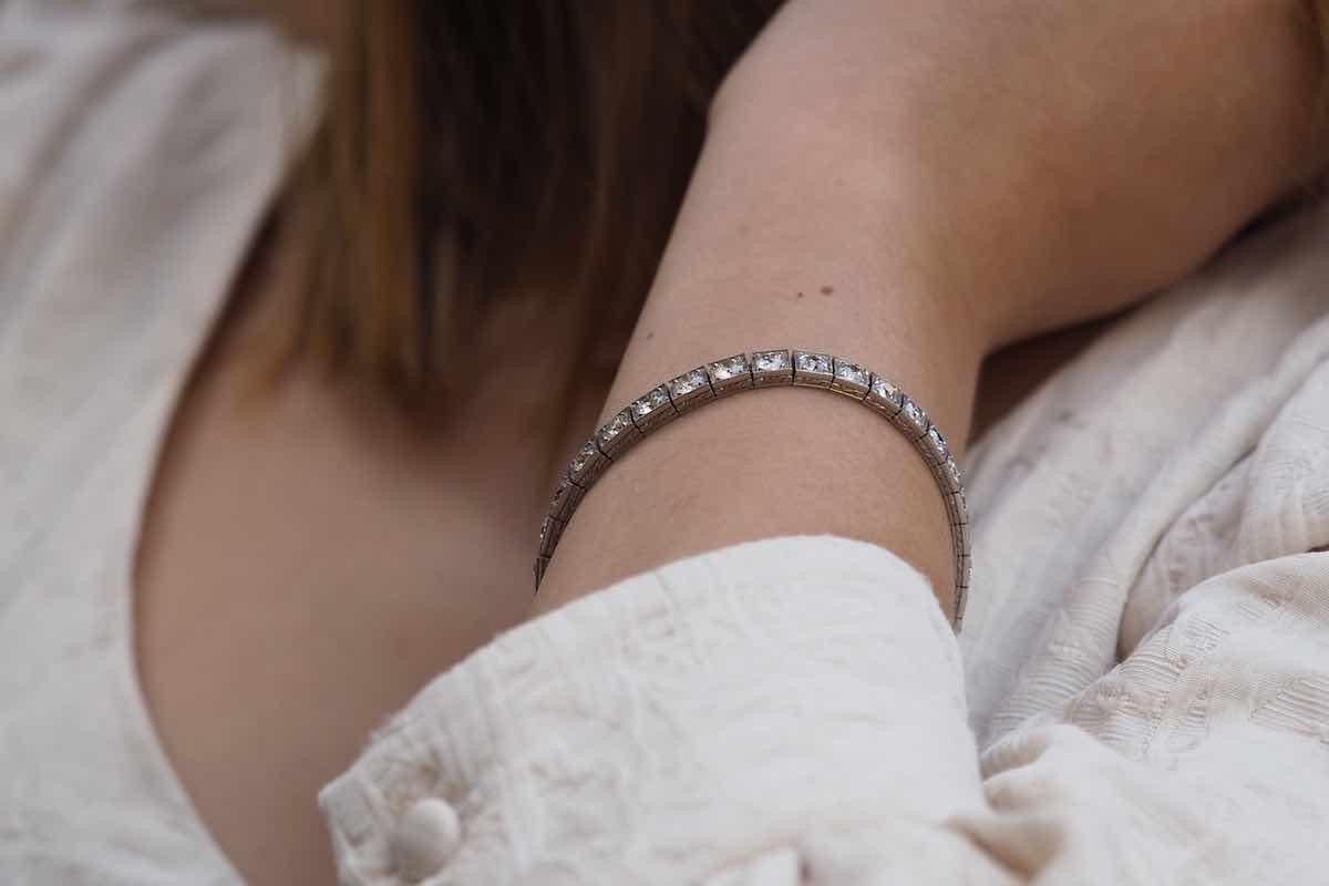 bracelet tour diamants ancien