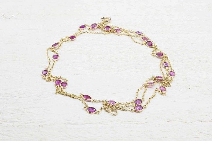 Bracelet rubis naturels en or jaune 18k