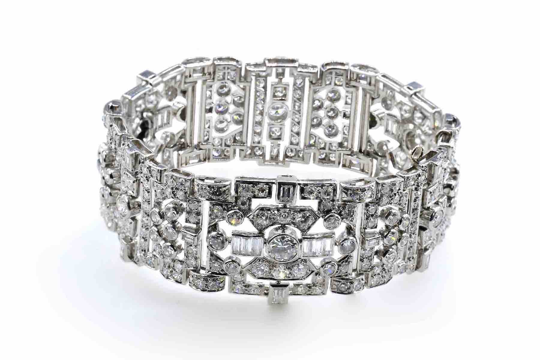 Bracelet Art Déco pavage de diamants en or blanc 18k