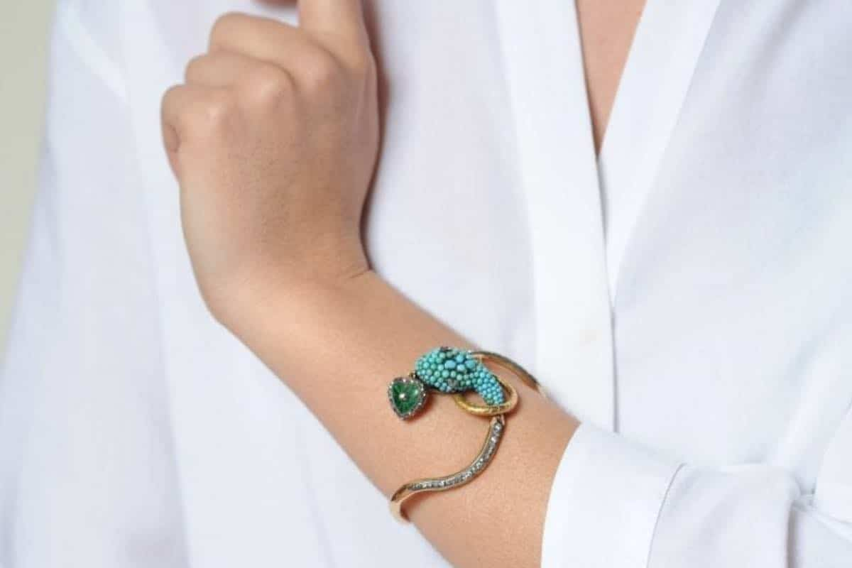 bracelet ancien serpent turquoises