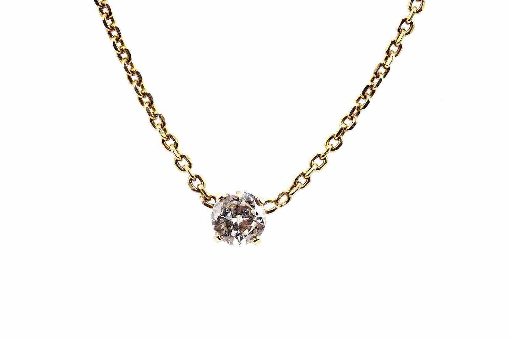 Collier pendentif diamant en or jaune 18k