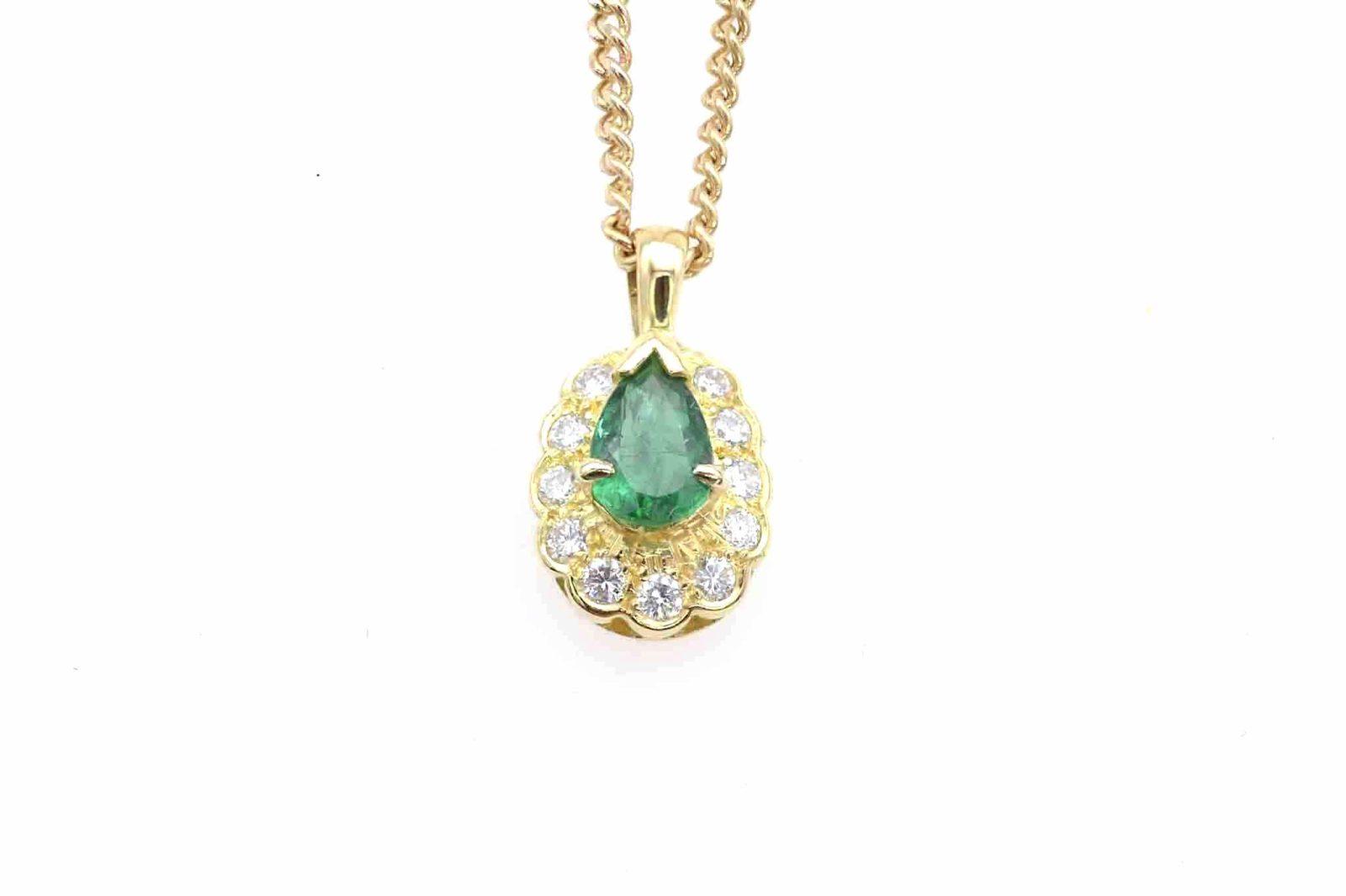 Pendentif émeraude diamants
