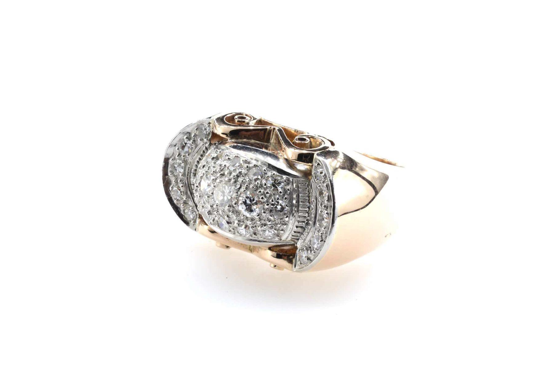 bague tank diamants en or