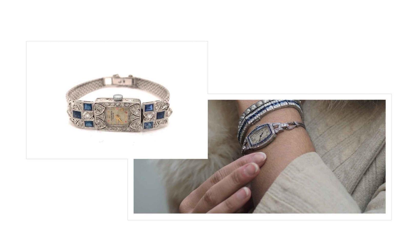 montres art-deco diamants saphirs