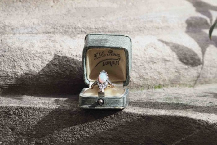 bague opale époque 19e or et argent
