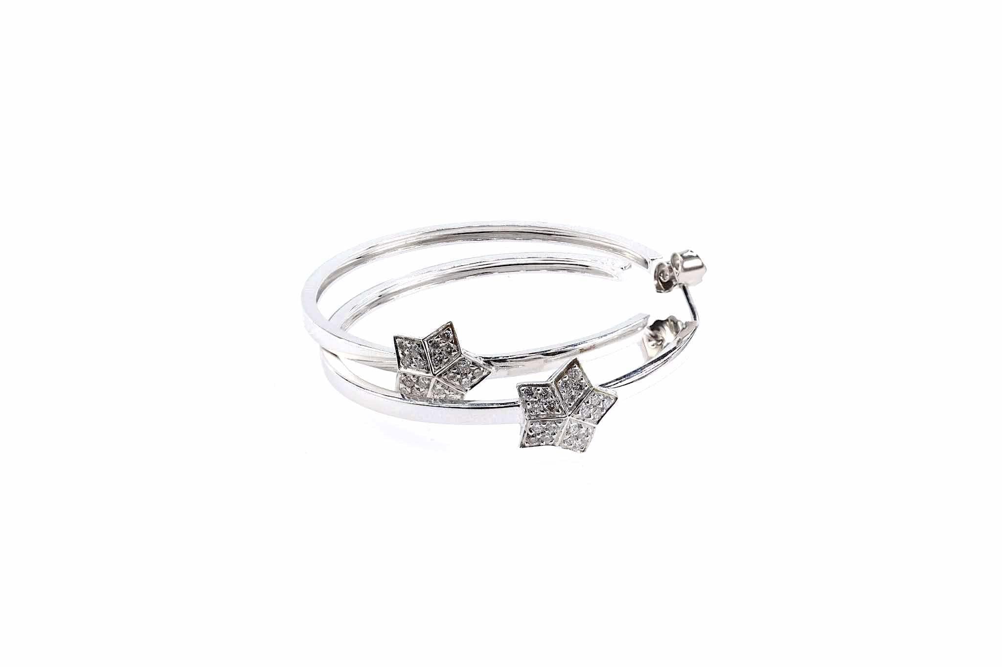 boucles créoles étoile diamants