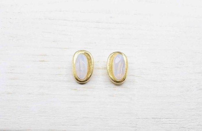 Boucles d'oreilles vintage or blanc 18k