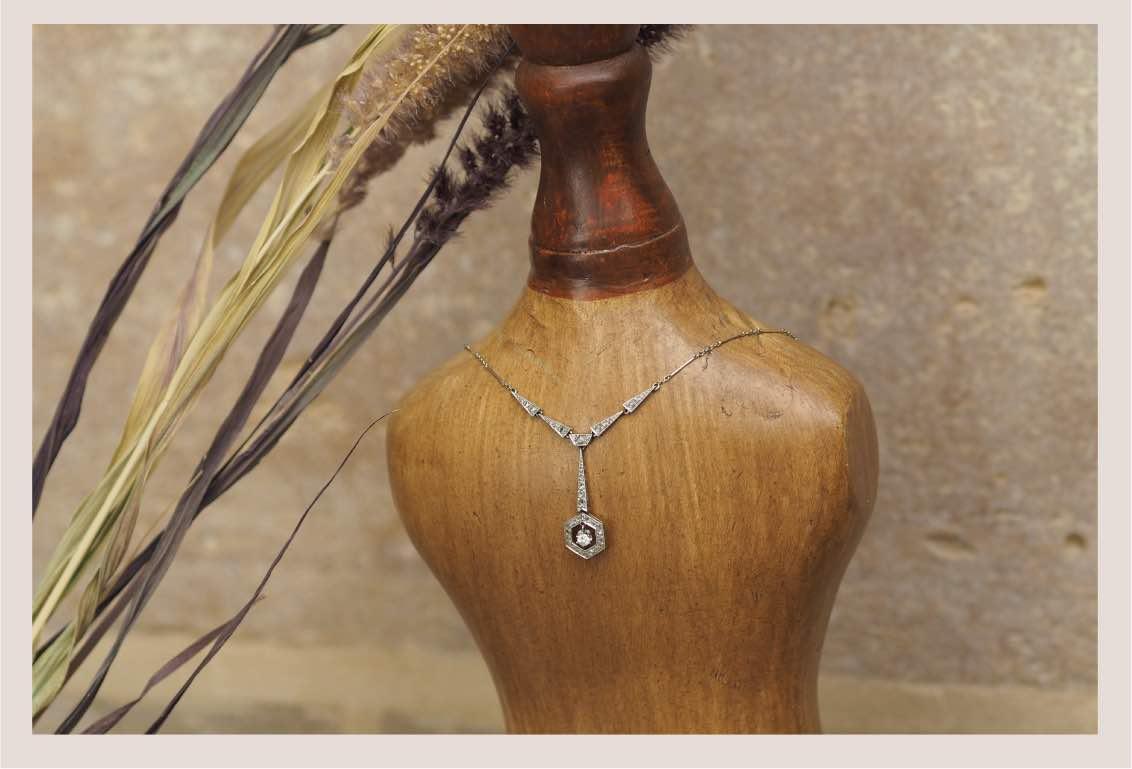 collier pendentif diamants art deco