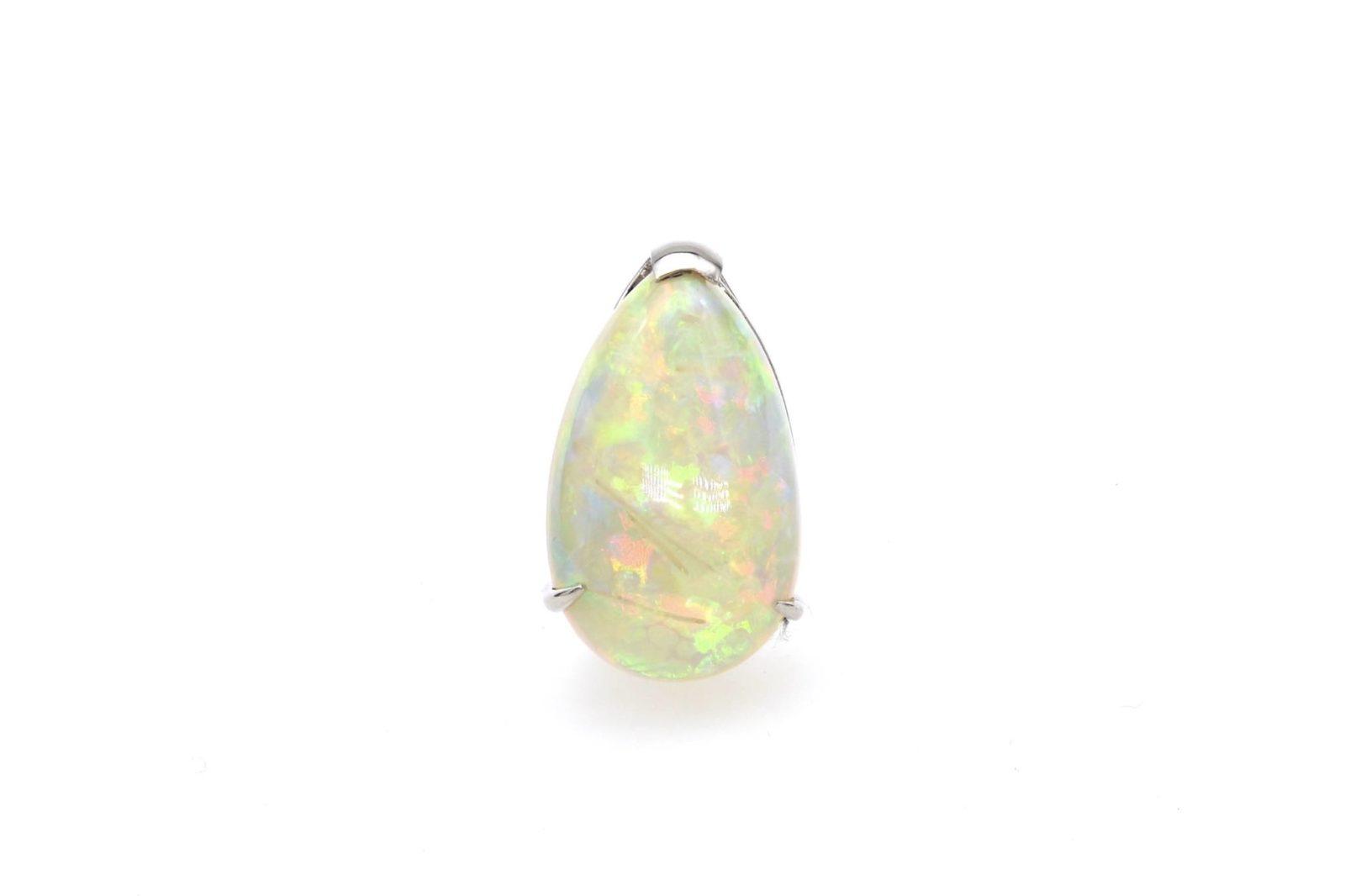 Pendentif opale arlequin en or blanc 18k
