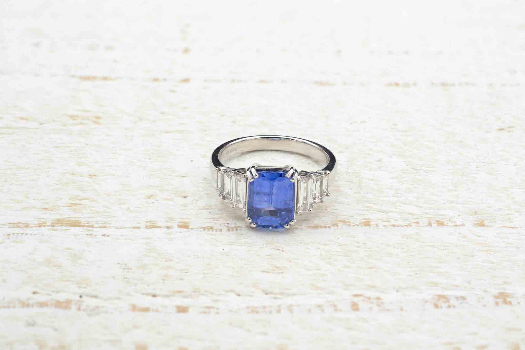 diamonds sapphire ring