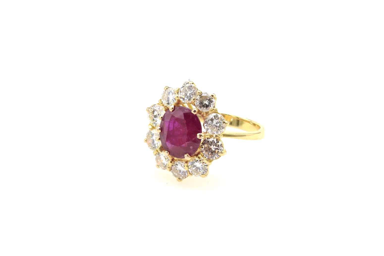 Bague vintage marguerite rubis et diamants