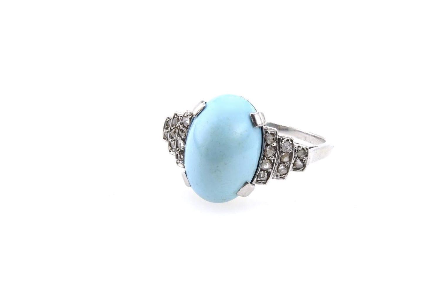 Bague turquoise Art-Déco diamants