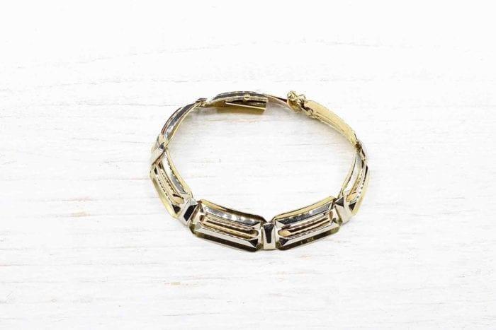 Bracelet Art Déco trois ors 18k
